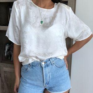 NWT Vintage 100% silk brocade flowy blouse